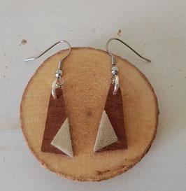 Boucles d'oreilles en bois : triangles makoré /simili doré