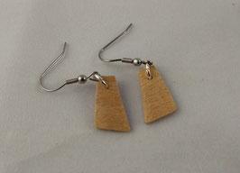 Boucles d'oreilles en bois: trapèzes ariégrés ondés
