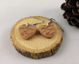 Boucles d'oreilles en bois : coeurs en Teck