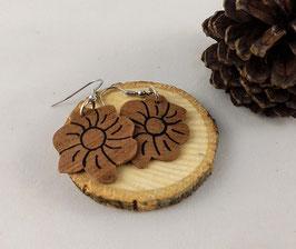 Boucles d'oreilles en bois: fleurs makoré