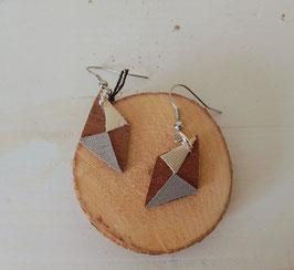 Boucles d'oreilles en bois: losanges makoré/simili