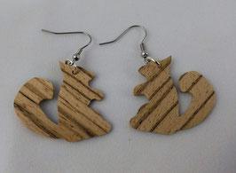Boucles d'oreilles en bois : Les écureuils en Zébrano
