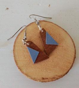 Boucles d'oreilles en bois : triangles makoré /simili bleu