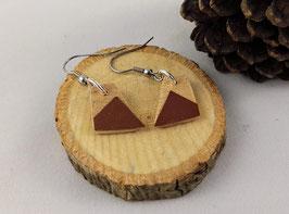 Boucles d'oreilles en bois : trapèzes ariégré/simili marron