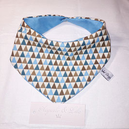 Bavoir Bandana Triangle bleu/marron