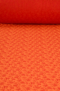 0,5 m - Jersey mit Blumenmuster - rot-orange - 1,40 m breit