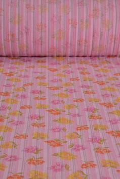 Baumwollstoff - Blumenmuster - Pink/Gelb