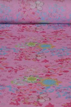 Baumwollstoff - Blumenmuster - Pink/Blau/Rot
