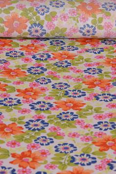 0,5 m - Baumwollstoff gewebt - Blumenmuster BS 0013