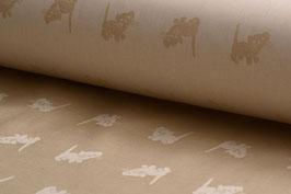 Bio-Baumwolle, Kätzchen-Muster, Beige | BIOB 0002