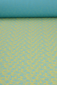 0,5 m - Jersey with flower pattern - turquoise-green-yellow