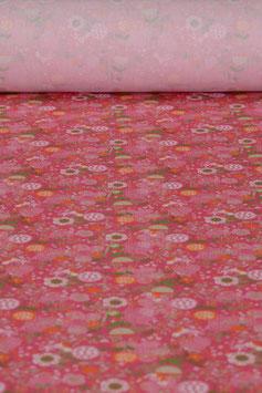 0,5 m - Baumwollstoff gewebt - Blumenmuster BS 0006