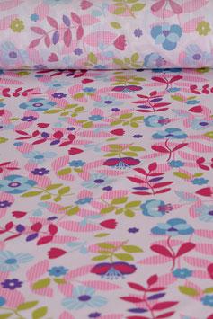 Baumwollstoff - Blumenmuster  - Bunt/Pink