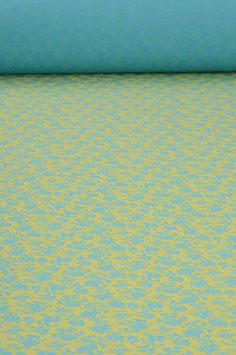 0,5 m - Jersey mit Blumenmuster - türkis-grüngelb - 1,40 m breit