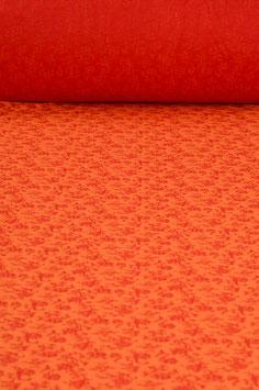 0,5 m - jersey with flower pattern - red-orange - 1,40 m wide