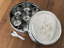Spice box with self-embossed laser flower filigree on the lid and box...
