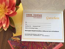 Cookindian-Geschenkkarte für einen Kochkurs für 2