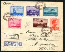 RUMÄNIEN 1936 FLP-Satzbrief von Bucarest nach Auvernier, Schweiz, eingeschrieben