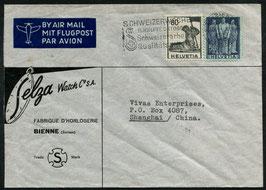 8.10.1947 Historische Bilder  FLP Brief von Biel/Bienne nach Shanghai, CHINA