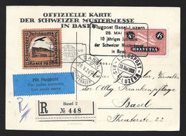 1926 1. Flugpost Basel-Luzern mit Vignette Jubiläums-Mustermesse Basel 1926