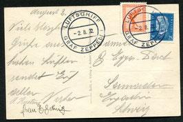 2.8.1932 Kurzfahrt in die Schweiz mit Text an Bord geschrieben.