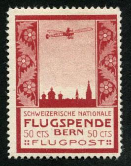 1913 Flugvorläufer BERN Nr. III Farbfrisch ungebraucht mit vollem Originalgummi TOP-Stück