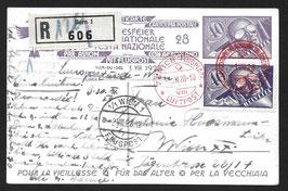 1.8.1928 BF Karte 40 Rp. Pilot von Zürich nach Wien, eingeschrieben mit identischer Zusatzfrankatur