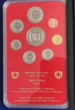1994 Münzsatz Schweiz in PP (polierte Platte) Hartplastikverpackung und Etui