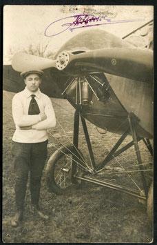 AK 1914 Aviator Borer vor seinem Aeroplan