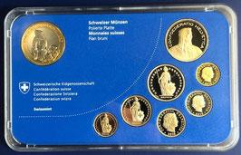 2010 Münzsatz Schweiz in PP (polierte Platte) Hartplastikverpackung, 10 Fr. Sondermünze Murmeltier Nationalpark