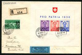 31.5.1937 Letzt Tag Stempel der Gültigkeit des Pro Patria Blocks 1936 auf Brief nach Konstanz, Deutsches Reich