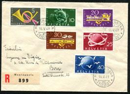 1949 Beide Serien 291-293 und 294-266 auf FDC mit Ortsstempel Montagnola 16.5.1949