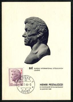MK 22 Johann Heinrich Pestalozzi 12.1.1946 Maximumkarte