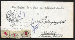 1895 Brief ohne Porto von München nach Neumünster