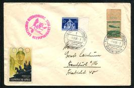 1.8.1936 Olympiafahrt mit Olympia-Vignette nach Frankfurt