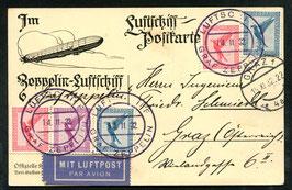 14.11.1932 Zeppelin Probefahrt mit Bordpost auf Karte nach Graz, Oesterreich