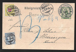 1891 Postkarte Bayern, von Bad Reichenhall nach Meiringen