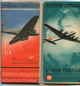 1937/1938 Zwei tolle Flugpläne der Deutschen Lufthansa für das Jahr Oktober 1937 bis Oktober 1938