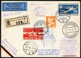 30.7/1.8.1932 Zeppelin LUPOSTA-Fahrt Abgabe Danzig, eingeschrieben
