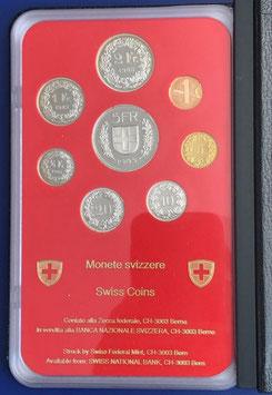 1985 Münzsatz Schweiz in PP (polierte Platte) Hartplastikverpackung und Etui