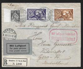 RF 23.1 az   28.5.1923 FLP eingeschrieben von Genf nach Gera, Deutschland