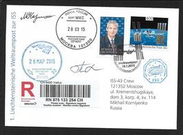 19.1.2015   1. Liechtensteinische Weltraumpost mit Sojus TMA-16M in die internationale Raumstation ISS befördert
