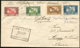 Offizielle Fremde Stempel Nr. 1    4.9.1924  Budapest - Zürich in schwarz sehr frühe Verwendung auf FLP Brief Ungarn via Wien
