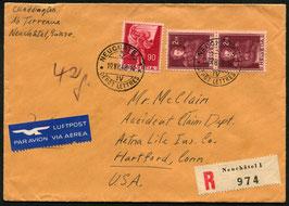 Historische Bilder 19.7.1948 Neuchâtel via Genf-New York (TWA), 20.7.1948nach Hartford, USA