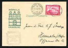 11.9.1931 Zürichfahrt, Bordpost mit Zusatzstempel der Morphila Hamburg