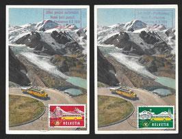 8.10.1953 2 tolle Maxikarten ET314 + 315 mit SSt. 10Rp. dt St. Gallen und 20Rp. it Lugano (selten)