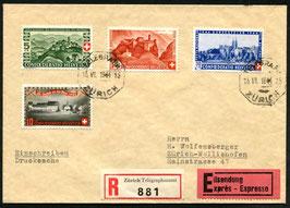 1944 Bundesfeier FDC Zürich Telegraph 15.6.1944 auf R-Drucksache, Express nach Zürich-Wollishofen