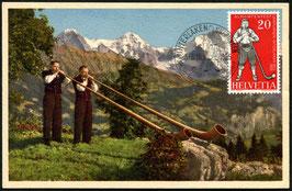 """1955 Schweiz. Trachten und Aelplerfest in Interlaken """"Alphornbläser"""""""