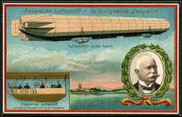 Graf Zeppelin Schiff und Portrait auf farbiger Prägedruckkarte