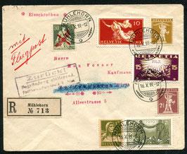 RF 19.1 FLP R-Brief von Mühlehorn nach Zuffenhausen, Deutschland mit F2 und Zusatzfrankatur